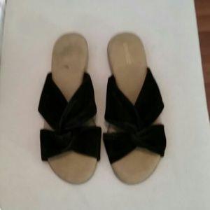 Black Velvet Crossover bow sandals